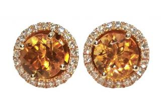 William & Son Interchangeable Citrine & Diamond Earrings