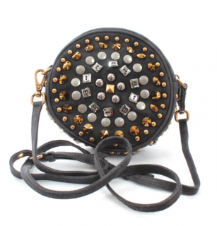 Miu Miu Charcoal Embellished Round Crossbody Bag