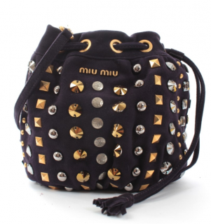 Miu Miu Navy Suede Studded Drawstring Bag