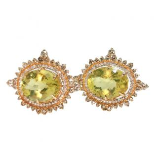 Noor Fares 18ct Yellow Gold Diamond Cluster Lemon Quartz Earrings