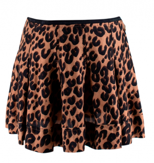 Louis Vuitton Leopard Print Silk Pleated Mini Skirt