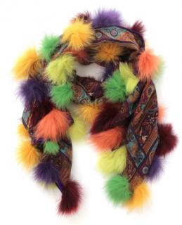 Etro Paisley Print Fur Pom Pom Wool & Silk Scarf