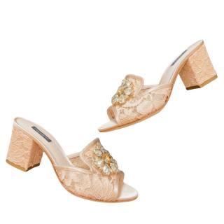 Dolce & Gabbana Crystal Embellished Lace Block Heel Mules