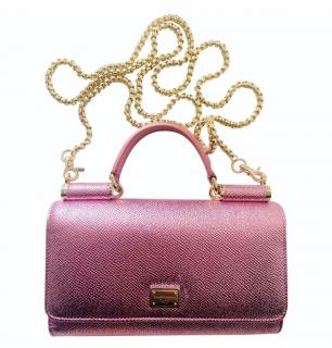 Dolce & Gabbana Pink Metallic Leather Sicily Wallet on Chain