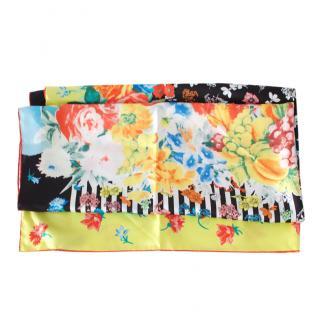 Versace Multi-Floral Print Silk Scarf