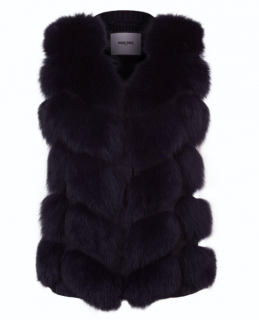 Max & Moi Black Fox Fur Panelled Gilet