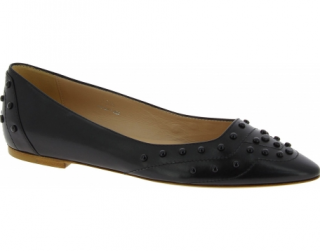 Tod's Black Studded Leather Ballerinas