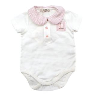 Mimu White Sustainble Cotton Babygrow with Rose Striped Collar