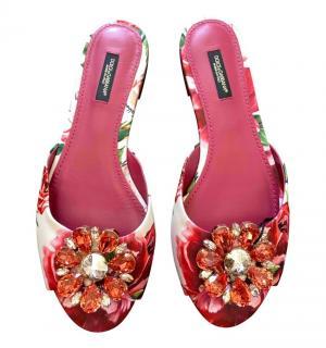 Dolce & Gabbana Peony Print Crystal Slides