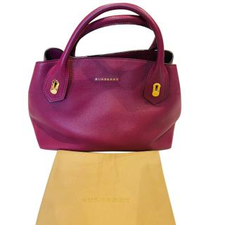 Burberry Leather Fuchsia Shoulder Tote Bag