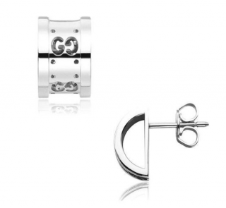 Gucci 18ct White Gold Interlocking GG Icon Earrings