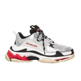Balenciaga SIlver/Grey Triple S Oversize Sneakers