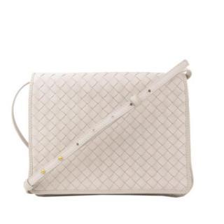 Bottega Veneta Intrecciato Leather White Messenger Bag