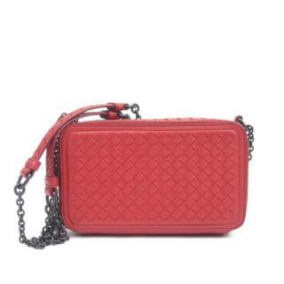Bottega Veneta Red Intrecciato Double Zip Chain Wallet