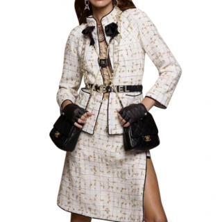 Chanel Runway Ivory/Gold Tweed Jacket & Skirt w/ Logo Belt