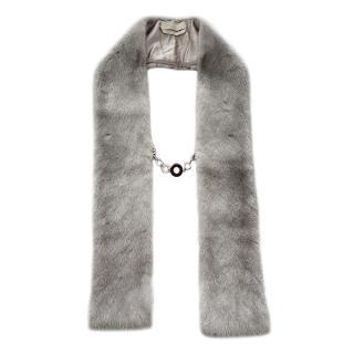 Max Mara Grey Chain Detailed Mink Fur Scarf
