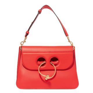 JW Anderson Red Leather Pierce Shoulder Bag