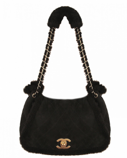 Chanel Suede/Shearling Back Large Tote Bag