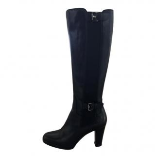Sergio Rossi Black Glossy Leather Knee Boots