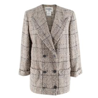 Chanel Checkered Cotton Tweed Double Breasted Collarless Jacket