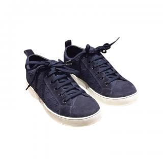 Louis Vuitton Blue Suede Monogram Sneakers