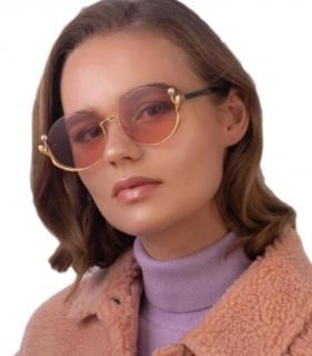 For Art's Sake Gold Plated Ariel Embellished Sunglasses