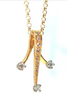 Bespoke 18ct Yellow Gold Diamond Set Three Prong Pendant Necklace