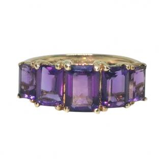 Besopoke Amethyst 5 Stone Yellow Gold Ring
