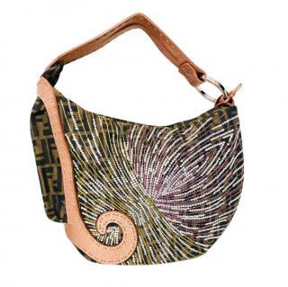 Fendi Embellished Monogram Oyster Shoulder Bag