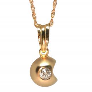 Bespoke 18ct Yellow Gold Diamond Apple Pendant Necklace