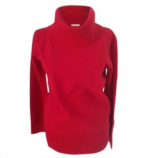 Max Mara Red Virgin Wool & Cashmere Roll Neck Jumper