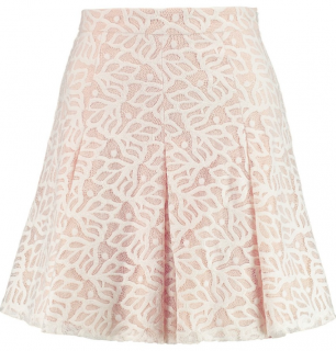 Sandro Blush Lace Pleated Mini Skirt