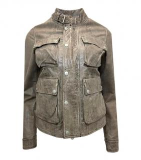 Belstaff Distressed Antique Brown Leather Biker Jacket