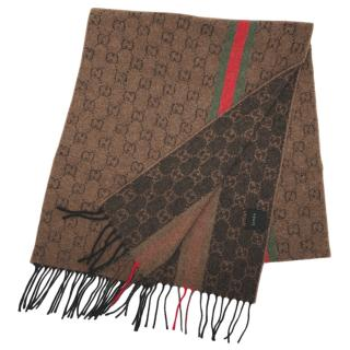 Gucci Brown Cashmere Monogram Knit Scarf