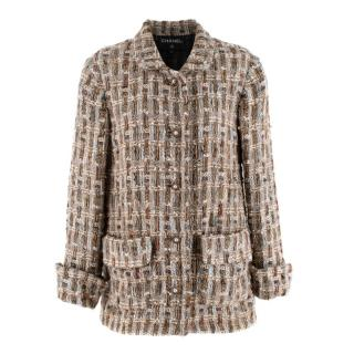 Chanel Brown, Cream & Blue Wool Blend Tweed Classic Jacket