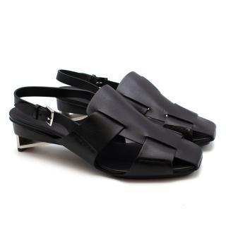 Hermes Runway Black Leather Geometric Heel Sandals