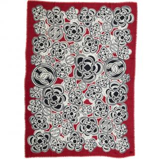 Chanel Red, Ivory & Black Camellia CC Print Cashmere Stole