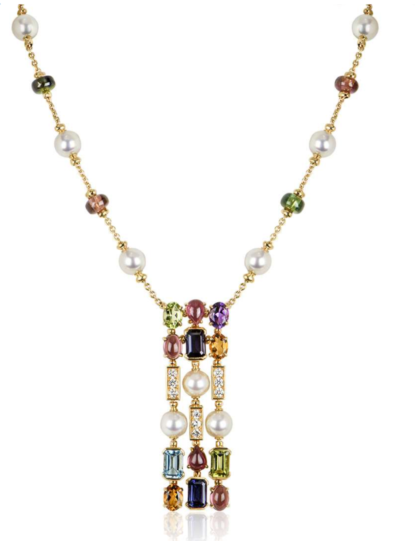Bvlgari 18ct Yellow Gold Pearl, Diamond & Fancy Cut Gems Necklace