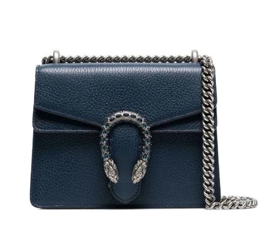 Gucci Blue Crystal Embellished Dionysus Shoulder Bag