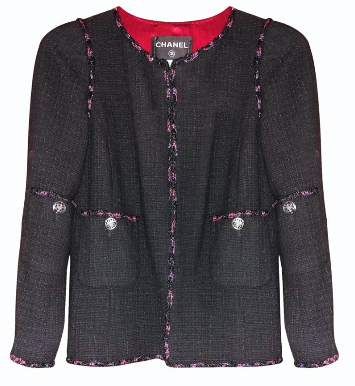 Chanel Black Tweed Jacket with Multicoloured Braided Trim