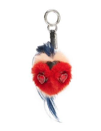 Fendi Mini Bag Bugs heart-face mink bag charm