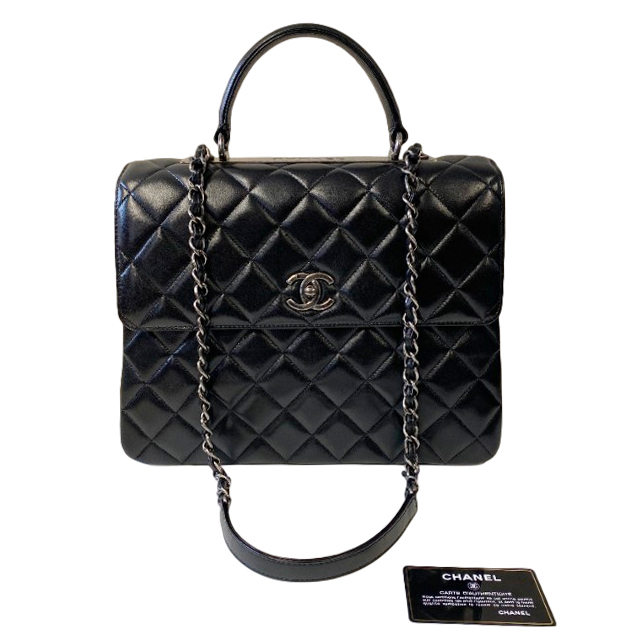 Chanel Black Lambskin CC Top Handle Flap Bag