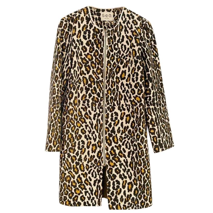 Sea NY Leopard Print Duster Coat