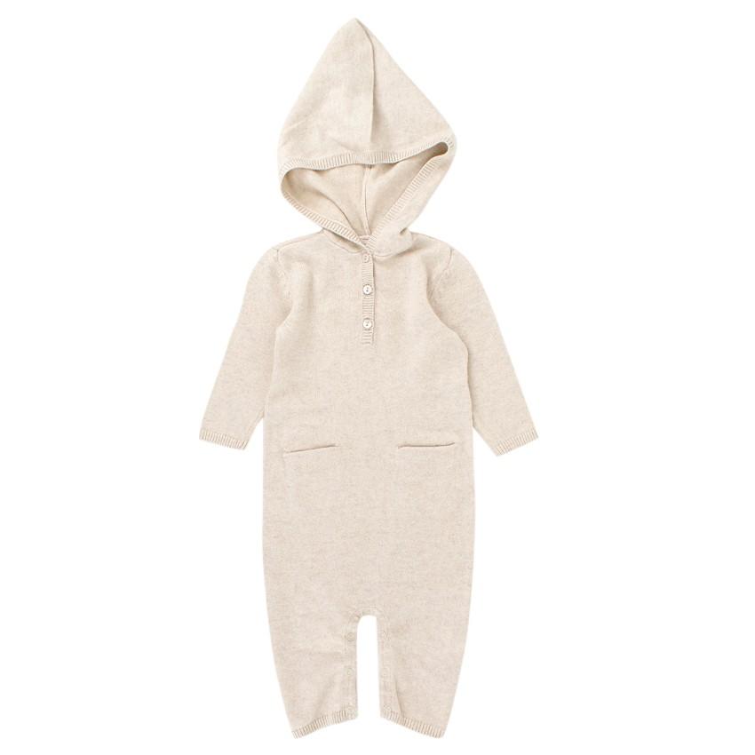 Bonpoint 3M Beige Silk & Cashmere Blend Baby Grow