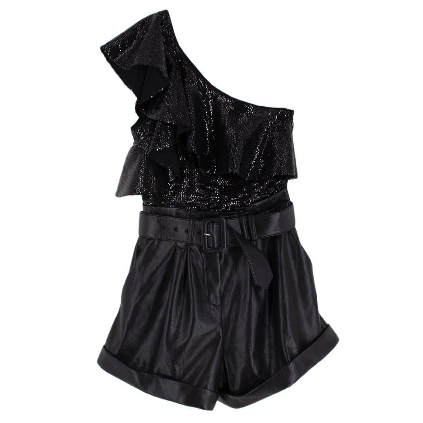 Self Portrait Black Sequin & Faux Leather One Shoulder Playsuit