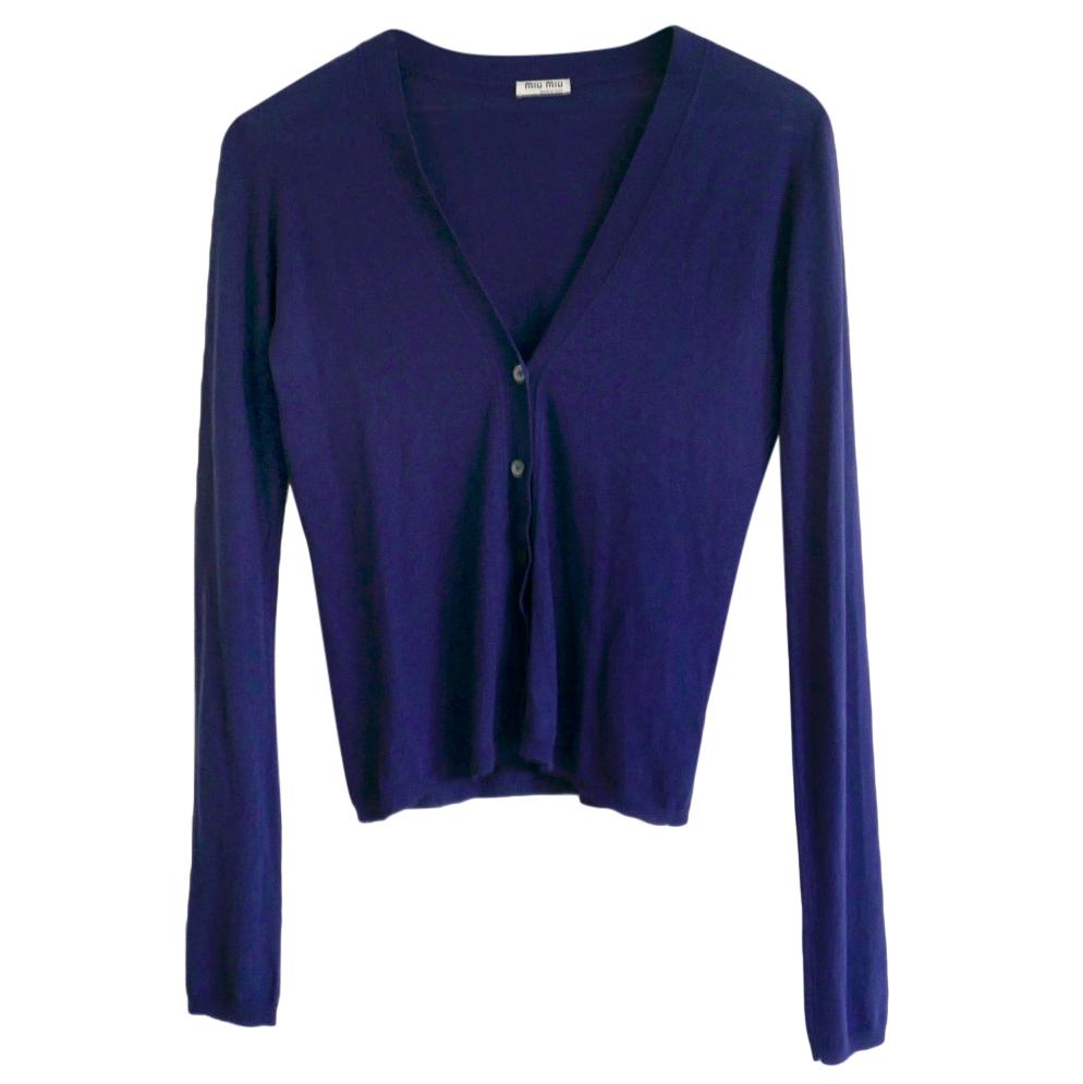 MIu Miu Blue Cashmere & Silk Cardigan