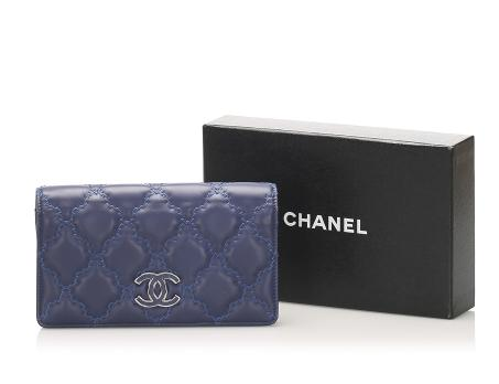 Chanel Blue Lambskin Wild Stitch Long Wallet
