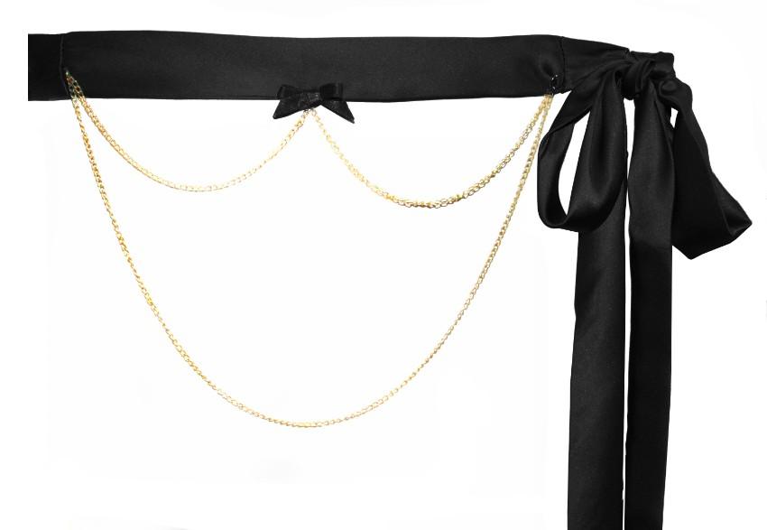 Maguy De Chadirac Black Satin Chain Detail Waist Belt