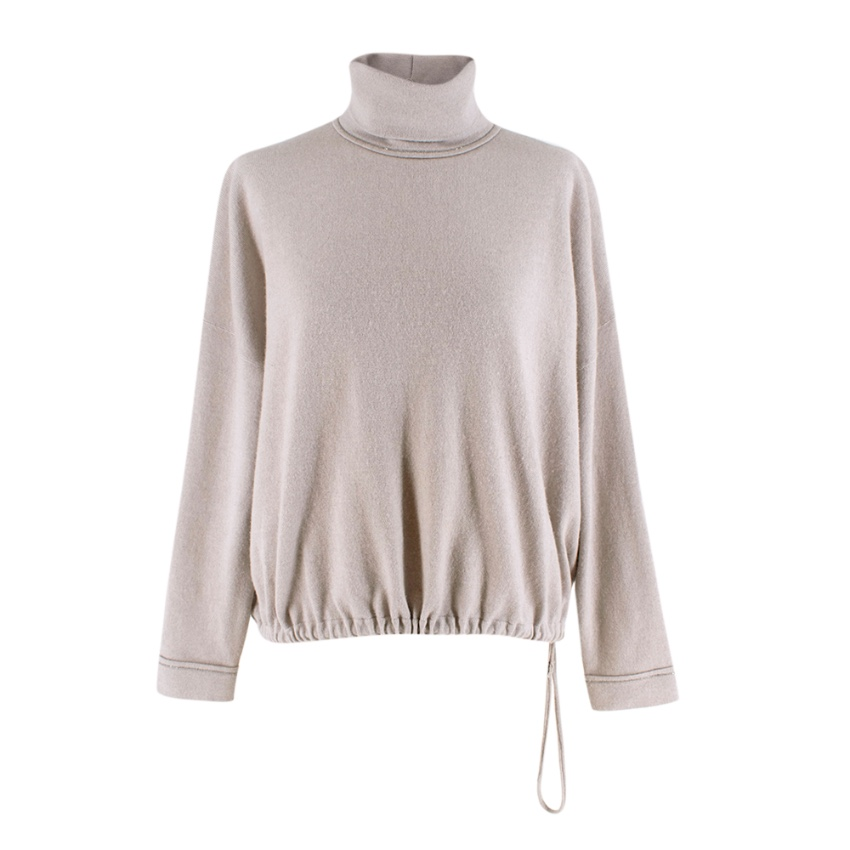 Brunello Cucinelli Greige Cashmere Brass Detail Turtle Neck Sweater
