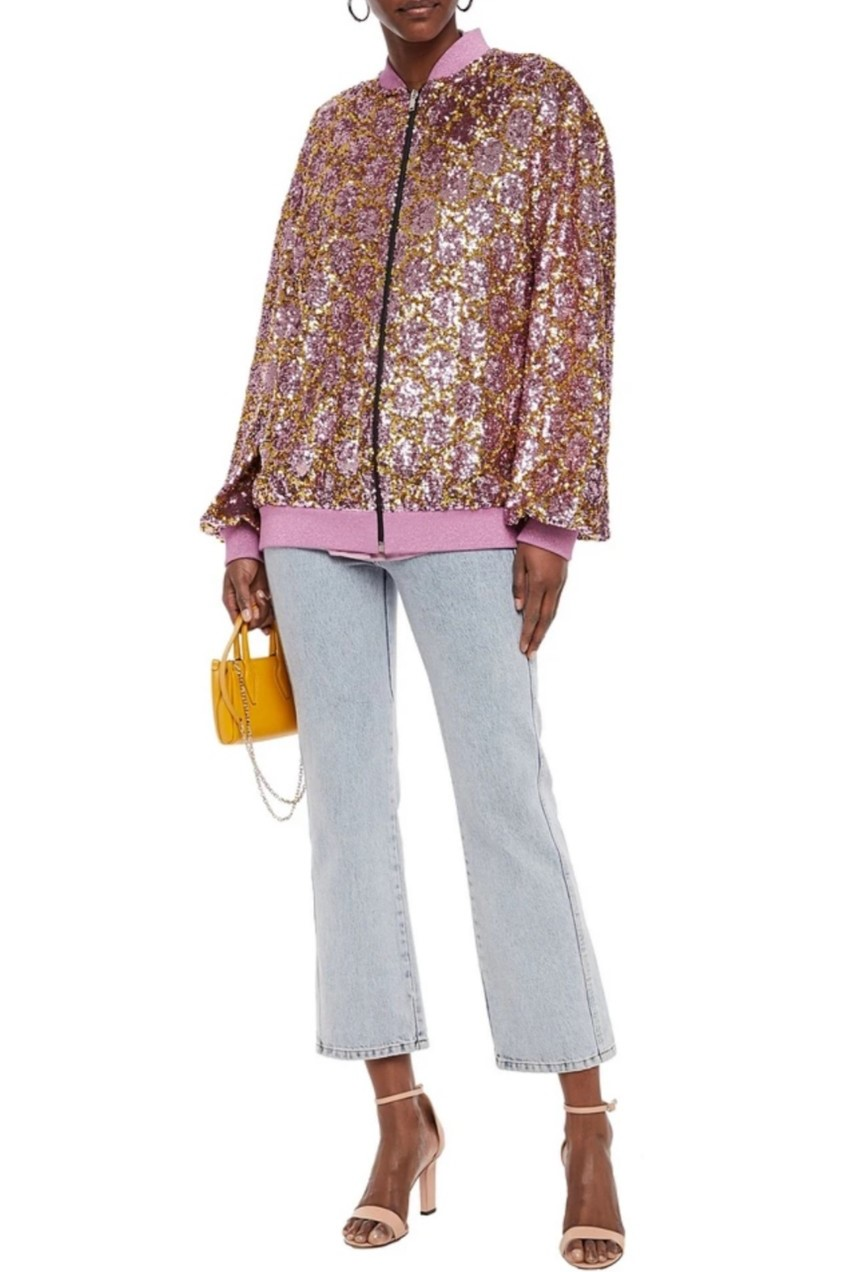 Gucci Pink Sequin Embellished Tulle Bomber w/ Lame Trim